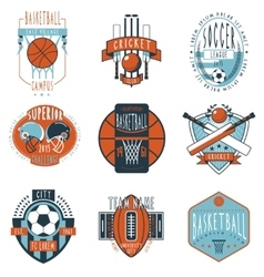 Sport clubs labels icons set vector