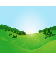 sunrise field forest vector image