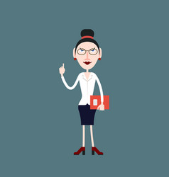 teacher woman pays attention by lifting a finger vector image vector image
