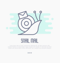 Thin line icon of snail mail with envelope vector