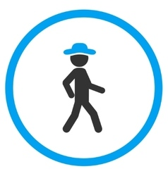 Walking boy rounded icon vector