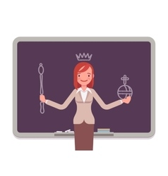 Woman against the blackboard with drawn queen vector