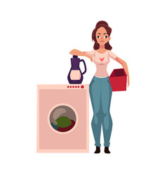 Young woman housewife standing next to washing vector