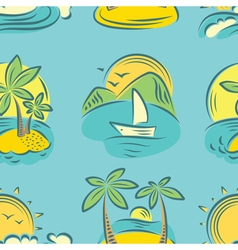 Seamless pattern with tropical paradise islands vector