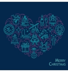 Christmas card in the shape of heart vector image