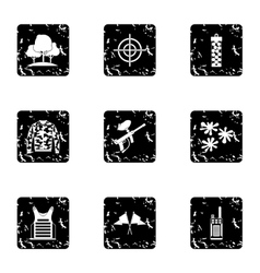 Outfit paintball icons set grunge style vector