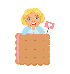 Smiling little girl with a huge biscuit a vector