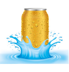 Gold tin can with water drops standing in water vector