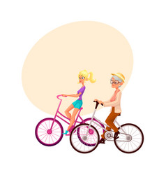 Old and young woman riding bicycle cycling vector