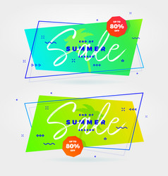 Summer sale flat retro banners vector