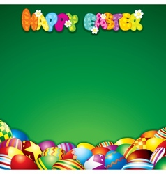 Easter background with colorful painted eggs vector