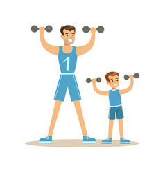Smiling man and boy exercising with dumbells dad vector