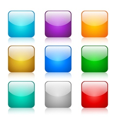 Set of glossy button icons vector