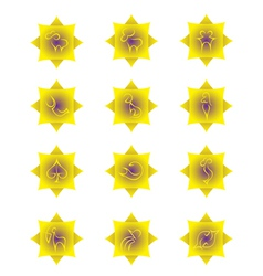 Yellow zodiac signs on yellow gradient squares vector