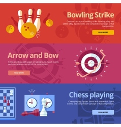 Set of flat design concepts for bowling strike vector