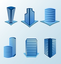 Building icon set in blue tone vector