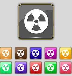 Radiation icon sign set with eleven colored vector