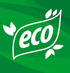 Eco logo on a green background vector