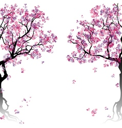 Colorful abstract blooming trees vector