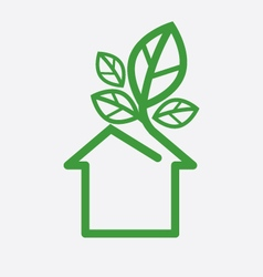House with green leaves ecology concept ill vector