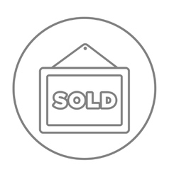 Sold placard line icon vector