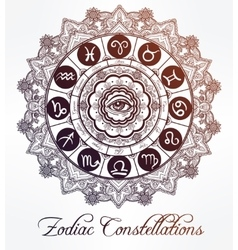 Hand drawn line art of zodiac set with eye vector image