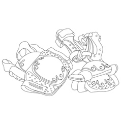 Roller skating protective gear vector