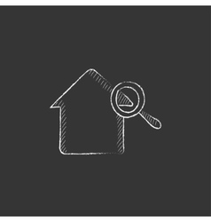 House and magnifying glass drawn in chalk icon vector