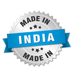 Made in india silver badge with blue ribbon vector