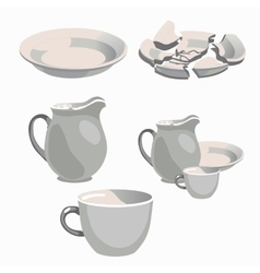 White porcelain kitchen utensils and broken plate vector