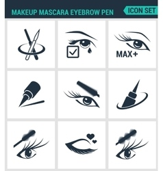 Set of modern icons makeup mascara eyebrow vector