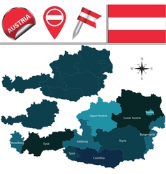 Austria map with named divisions vector image