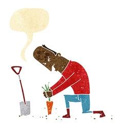 Cartoon gardener with speech bubble vector