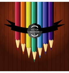 Colorful seven pencils on the wooden background vector image