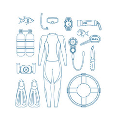 Diving equipment thin line set vector