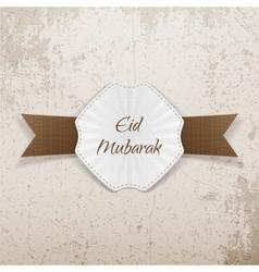 Eid mubarak greeting paper badge vector
