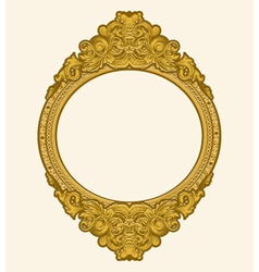 engraved gold floral frame vector image vector image