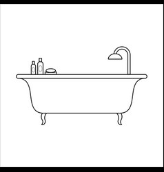 freestanding bath home furniture lineart design vector image