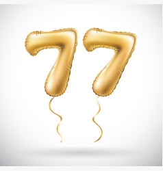golden number 77 seventy seven metallic balloon vector image