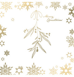 Handwritten christmas with hanging mistletoe - vector