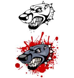 Head of evil dog vector