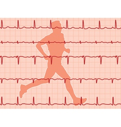 heartbeat and running man vector image
