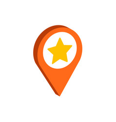 Map pointer with star symbol flat isometric icon vector
