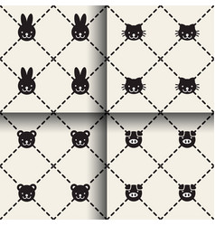 Minimal animal seamless patterns vector