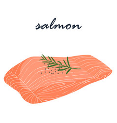 Salmon fish food help fat burning vector