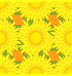 seamless pattern of yellow flowers with green vector image