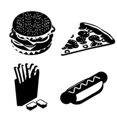 Set Fast food silhouette Big juicy hamburger and vector image