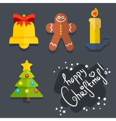 Set of christmas icons in flat style vector