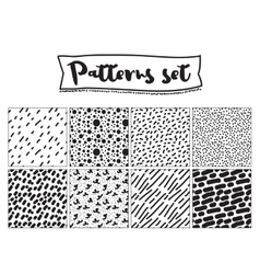 Set of hand drawn backgrounds black and white vector