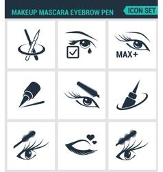 Set of modern icons makeup mascara eyebrow vector